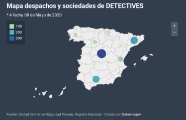 Distribución territorial de los despachos de detective